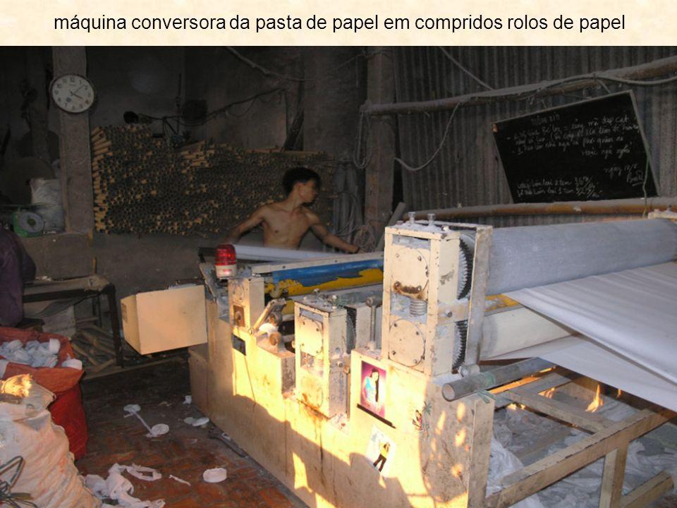 máquina conversora da pasta de papel em compridos rolos de papel