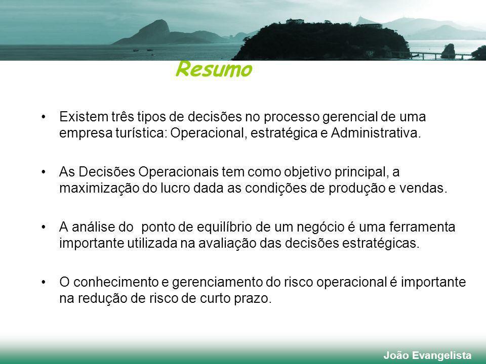 Resumo Existem três tipos de decisões no processo gerencial de uma empresa turística: Operacional, estratégica e Administrativa.