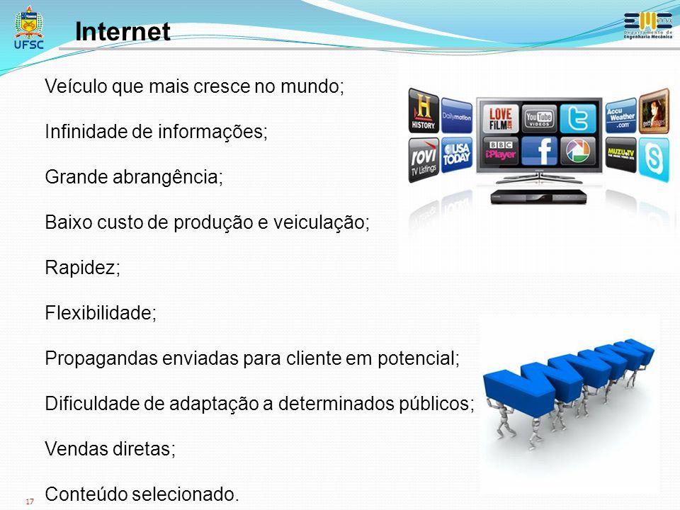 Internet Veículo que mais cresce no mundo; Infinidade de informações;