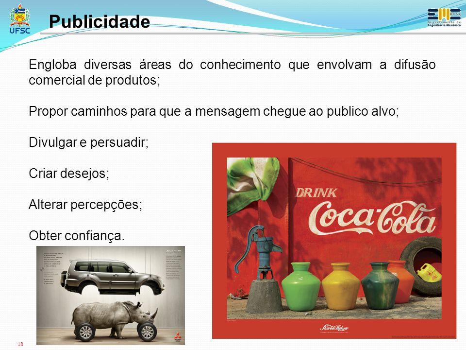 Publicidade Engloba diversas áreas do conhecimento que envolvam a difusão comercial de produtos;