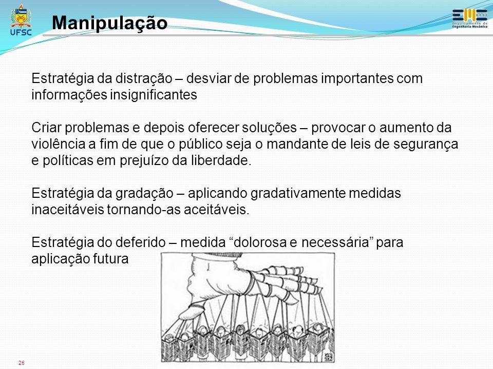 Manipulação Estratégia da distração – desviar de problemas importantes com informações insignificantes.