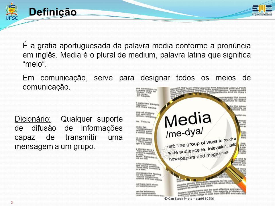 Definição É a grafia aportuguesada da palavra media conforme a pronúncia em inglês. Media é o plural de medium, palavra latina que significa meio .