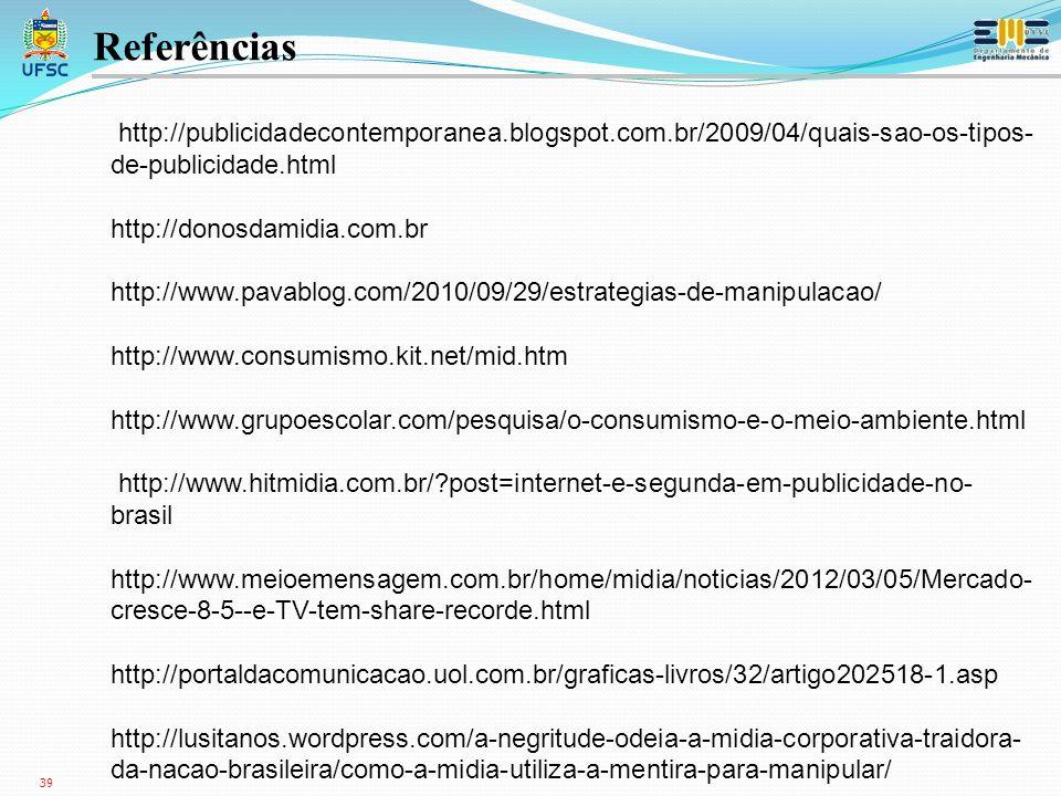 Referências http://publicidadecontemporanea.blogspot.com.br/2009/04/quais-sao-os-tipos-de-publicidade.html.