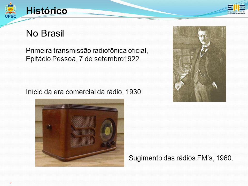 Histórico No Brasil Primeira transmissão radiofônica oficial,