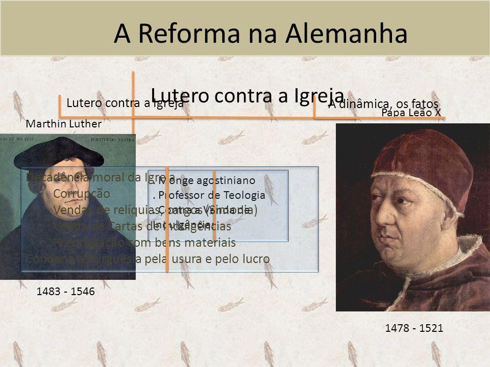 A Reforma na Alemanha Lutero contra a Igreja Lutero contra a Igreja