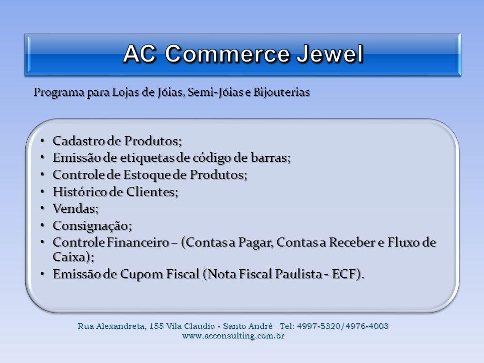 AC Commerce Jewel Cadastro de Produtos;