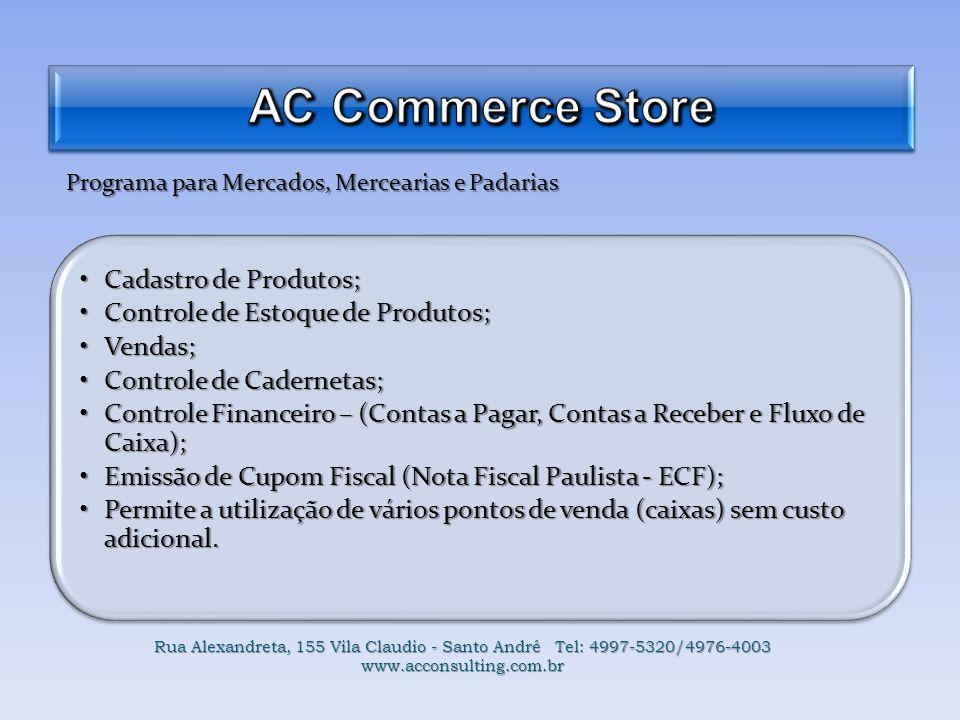 AC Commerce Store Cadastro de Produtos;
