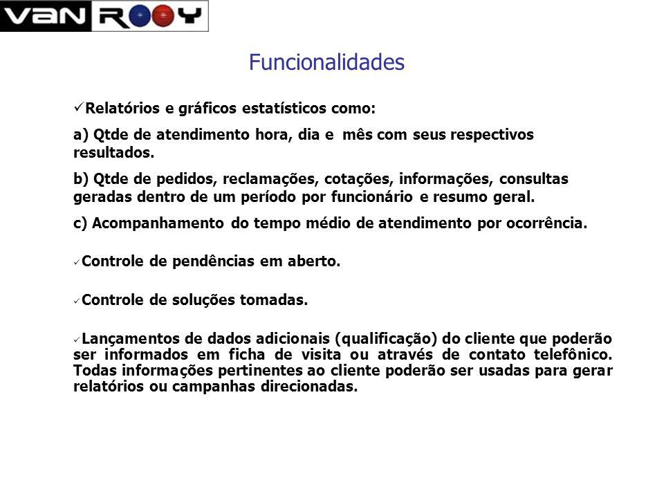 Funcionalidades Relatórios e gráficos estatísticos como: