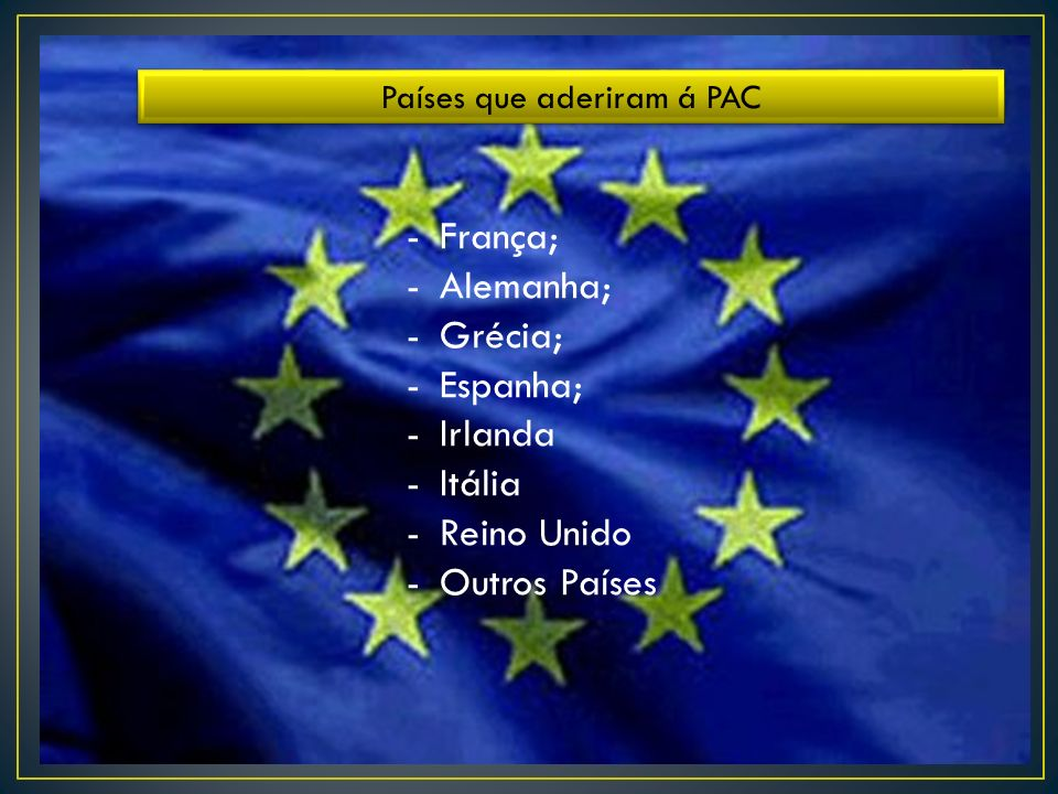 Países que aderiram á PAC