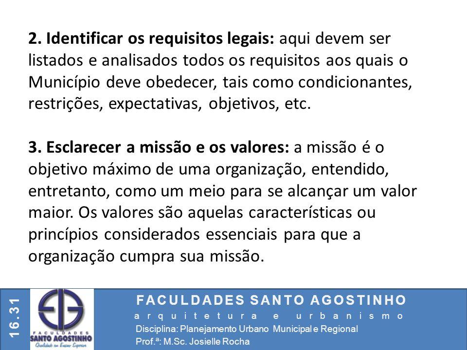 2. Identificar os requisitos legais: aqui devem ser listados e analisados todos os requisitos aos quais o Município deve obedecer, tais como condicionantes, restrições, expectativas, objetivos, etc.
