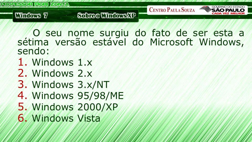 Sobre o Windows XP O seu nome surgiu do fato de ser esta a sétima versão estável do Microsoft Windows, sendo: