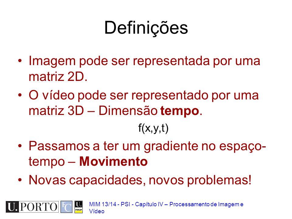 Definições Imagem pode ser representada por uma matriz 2D.