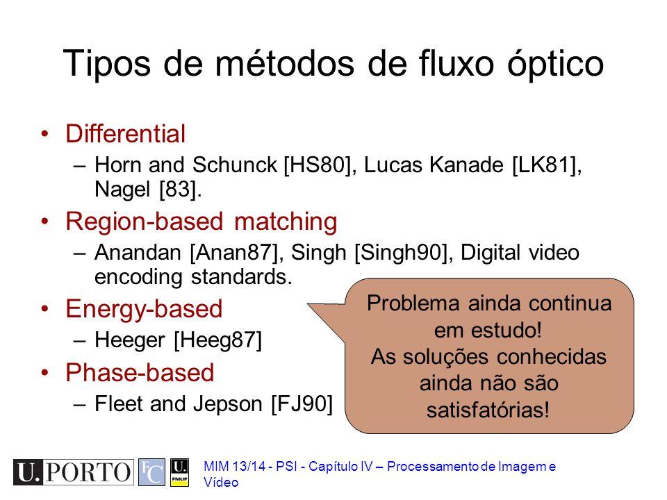 Tipos de métodos de fluxo óptico