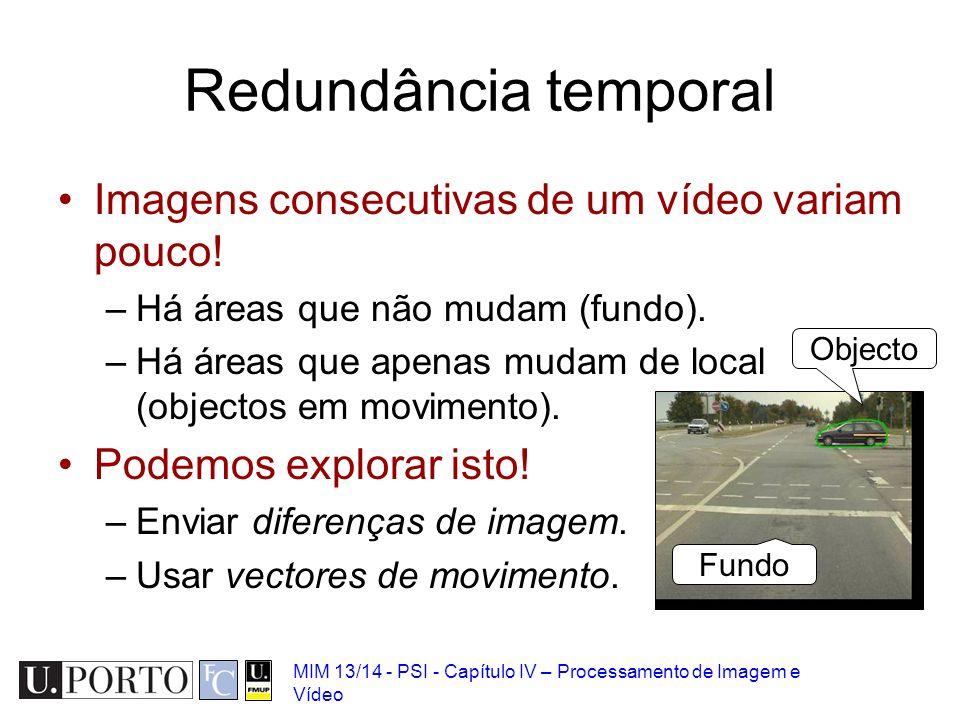 Redundância temporal Imagens consecutivas de um vídeo variam pouco!