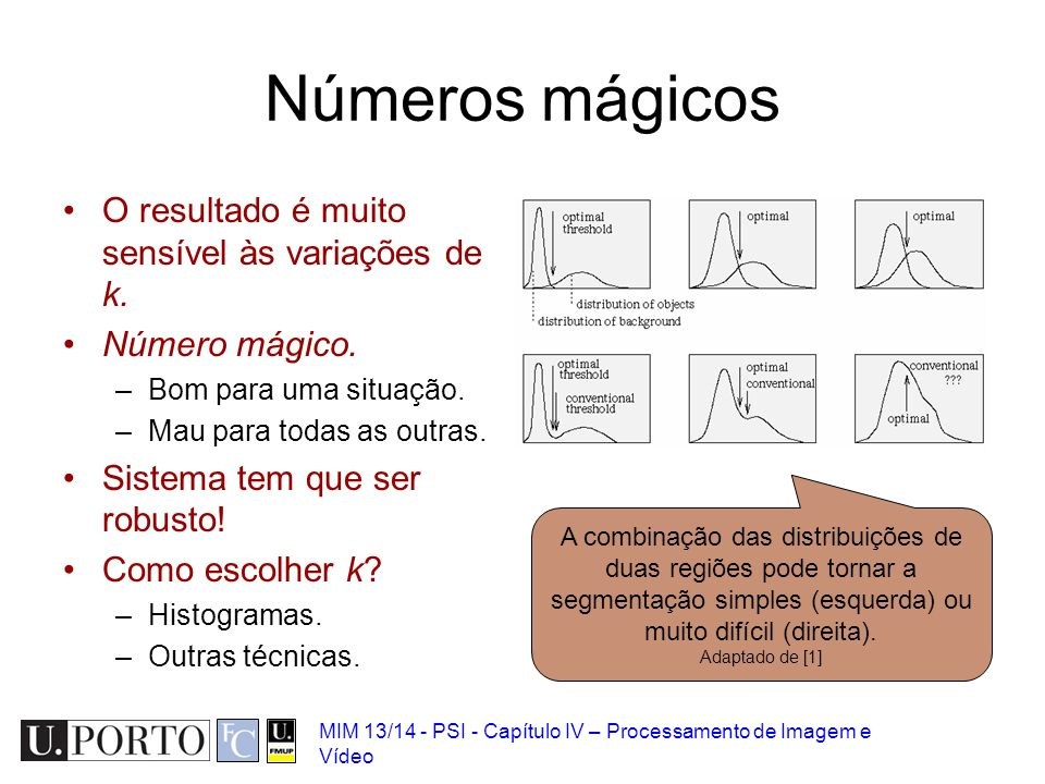 Números mágicos O resultado é muito sensível às variações de k.