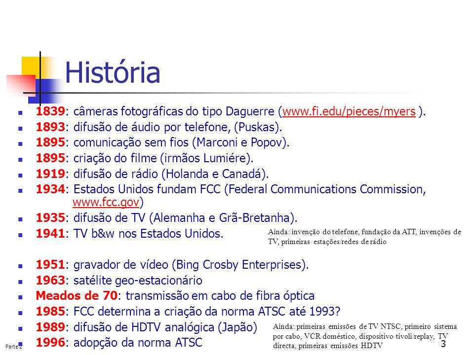 História 1839: câmeras fotográficas do tipo Daguerre (www.fi.edu/pieces/myers ). 1893: difusão de áudio por telefone, (Puskas).