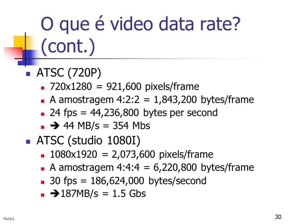 O que é video data rate (cont.)