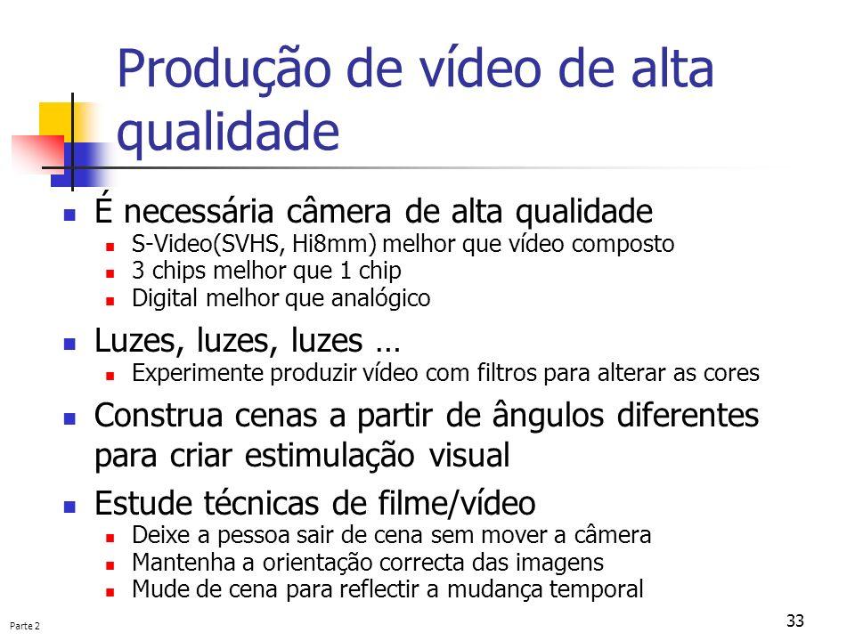 Produção de vídeo de alta qualidade