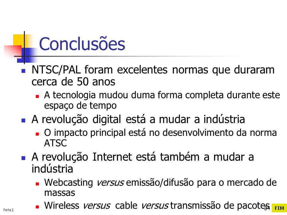 Conclusões NTSC/PAL foram excelentes normas que duraram cerca de 50 anos. A tecnologia mudou duma forma completa durante este espaço de tempo.