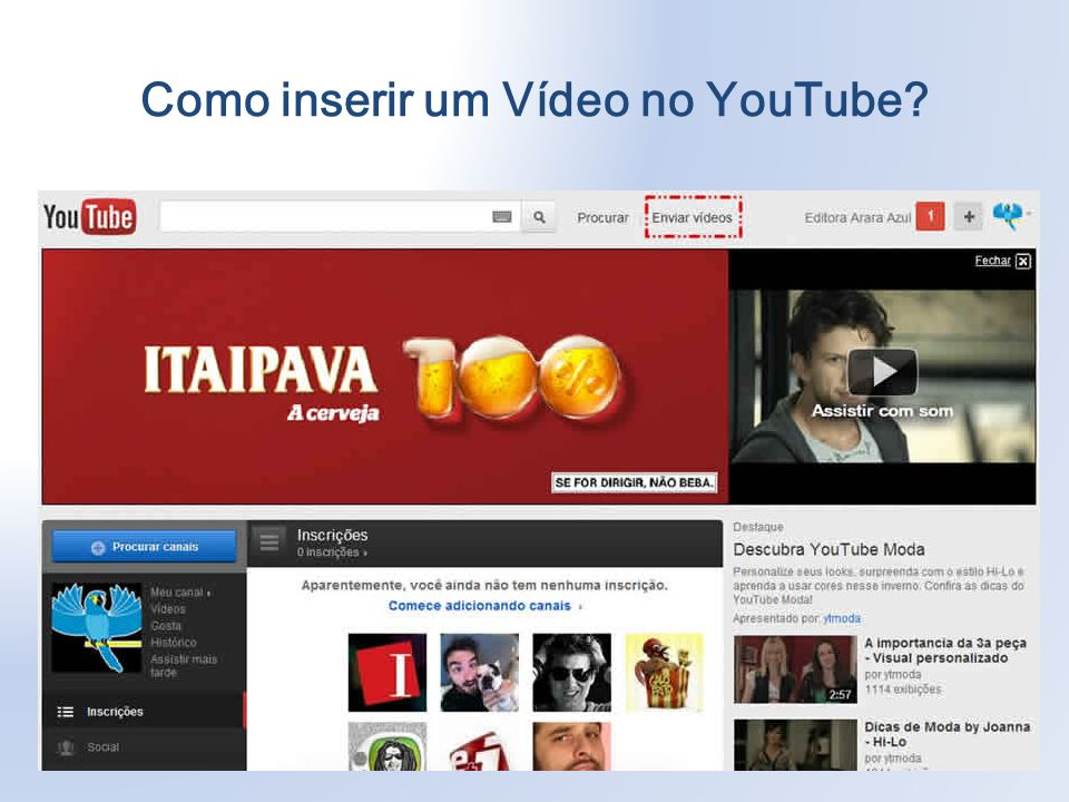 Como inserir um Vídeo no YouTube