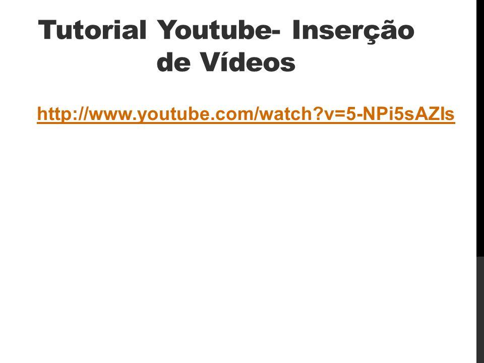 Tutorial Youtube- Inserção de Vídeos
