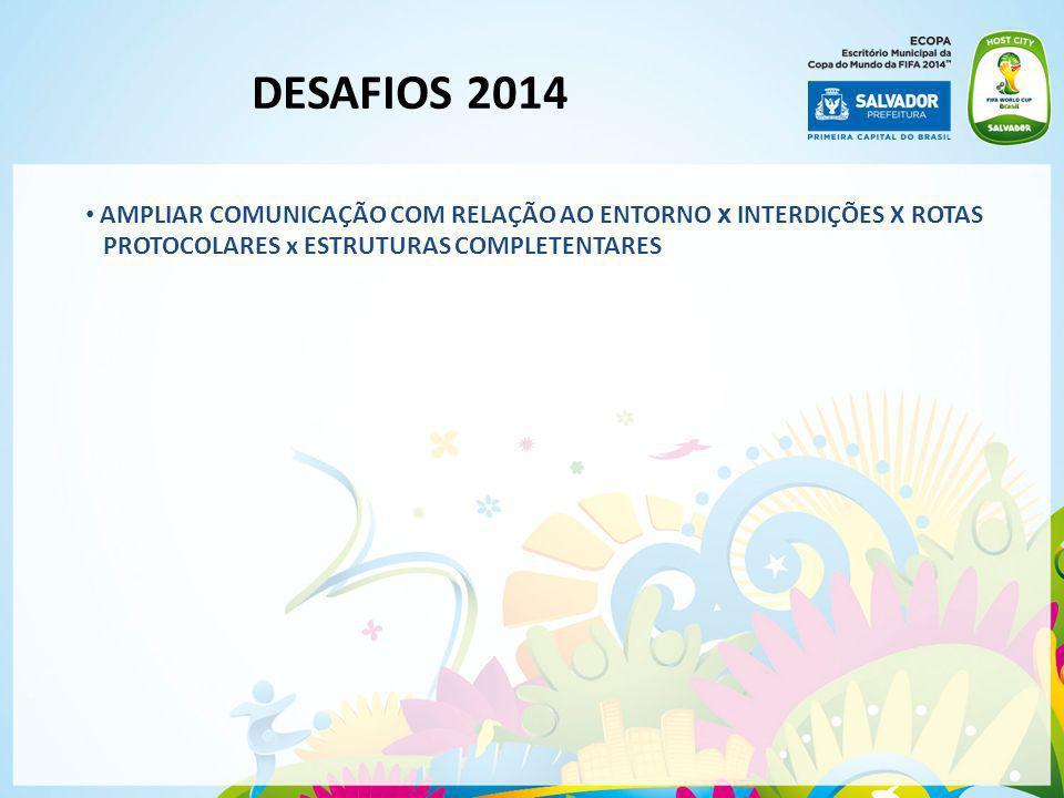 DESAFIOS 2014 AMPLIAR COMUNICAÇÃO COM RELAÇÃO AO ENTORNO x INTERDIÇÕES X ROTAS.
