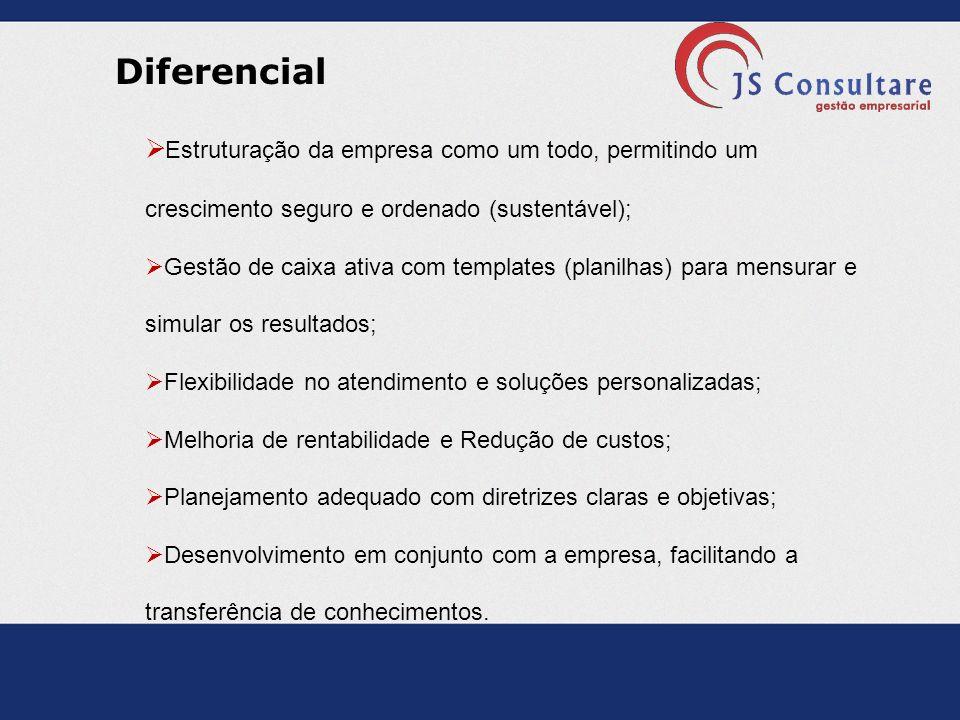 Diferencial Estruturação da empresa como um todo, permitindo um crescimento seguro e ordenado (sustentável);