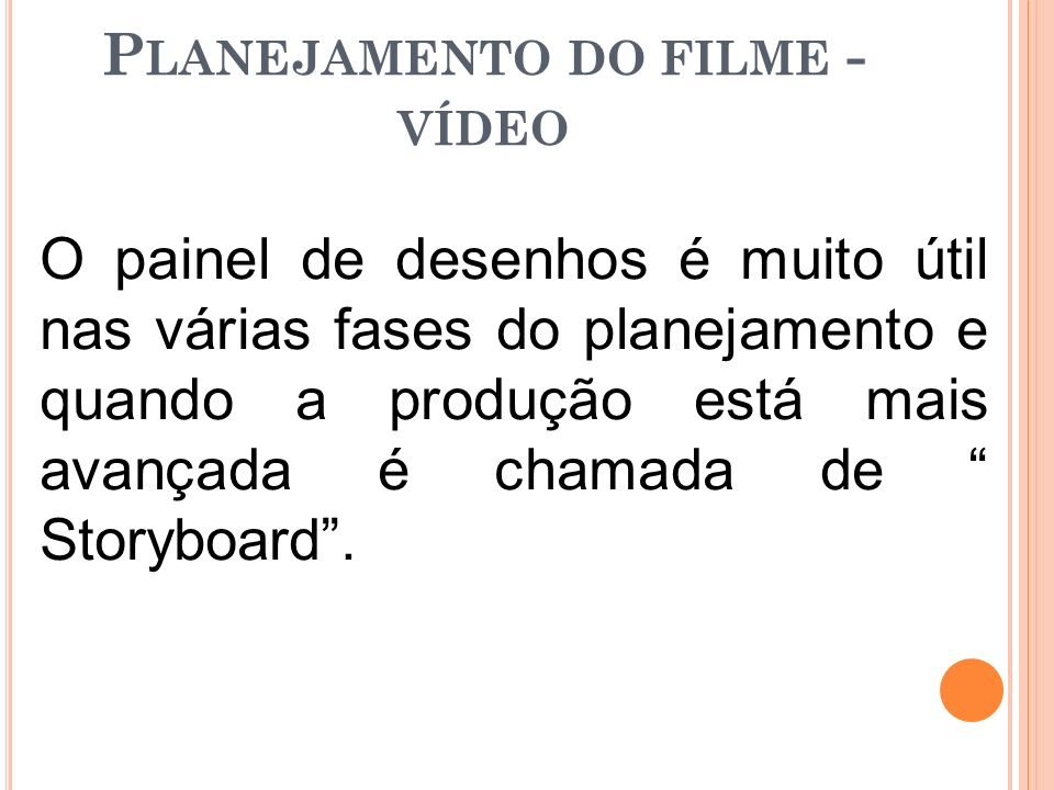 Planejamento do filme - vídeo