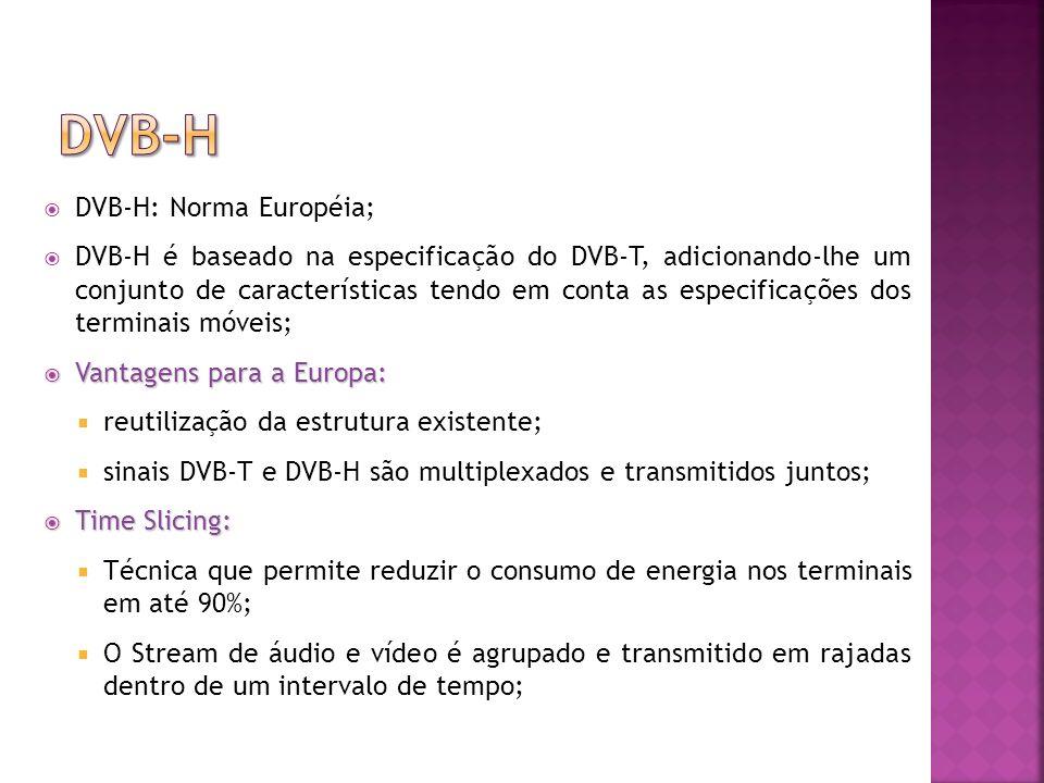DVB-H DVB-H: Norma Européia;