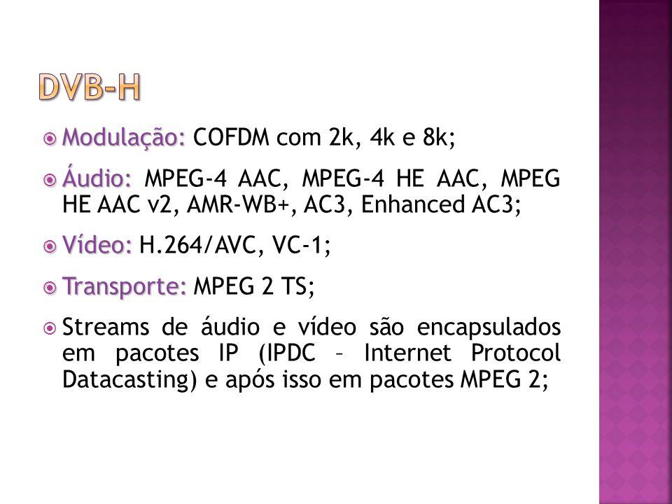 DVB-H Modulação: COFDM com 2k, 4k e 8k;