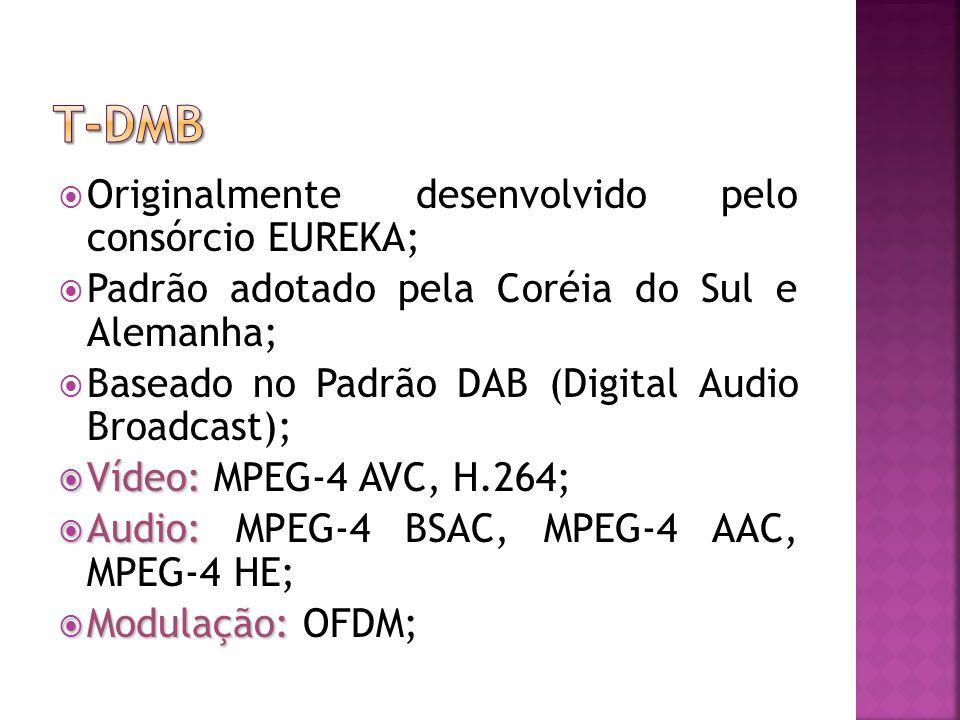 T-DMB Originalmente desenvolvido pelo consórcio EUREKA;