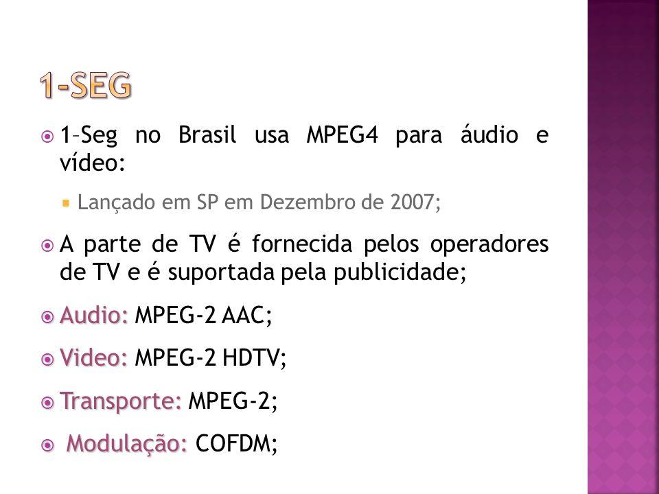 1-seg 1–Seg no Brasil usa MPEG4 para áudio e vídeo: