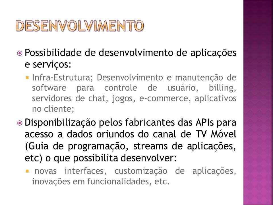 desenvolvimento Possibilidade de desenvolvimento de aplicações e serviços: