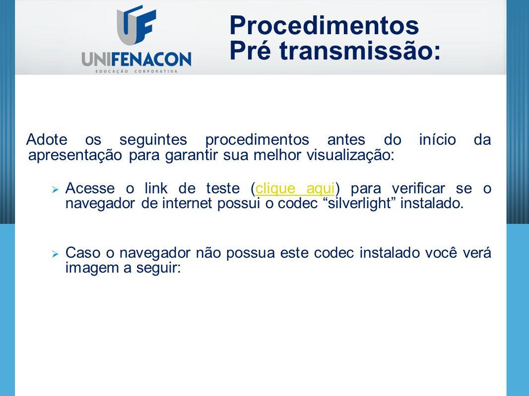 Procedimentos Pré transmissão: