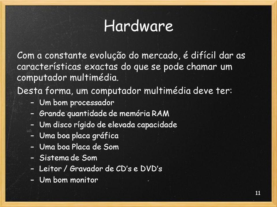 Hardware Com a constante evolução do mercado, é difícil dar as características exactas do que se pode chamar um computador multimédia.