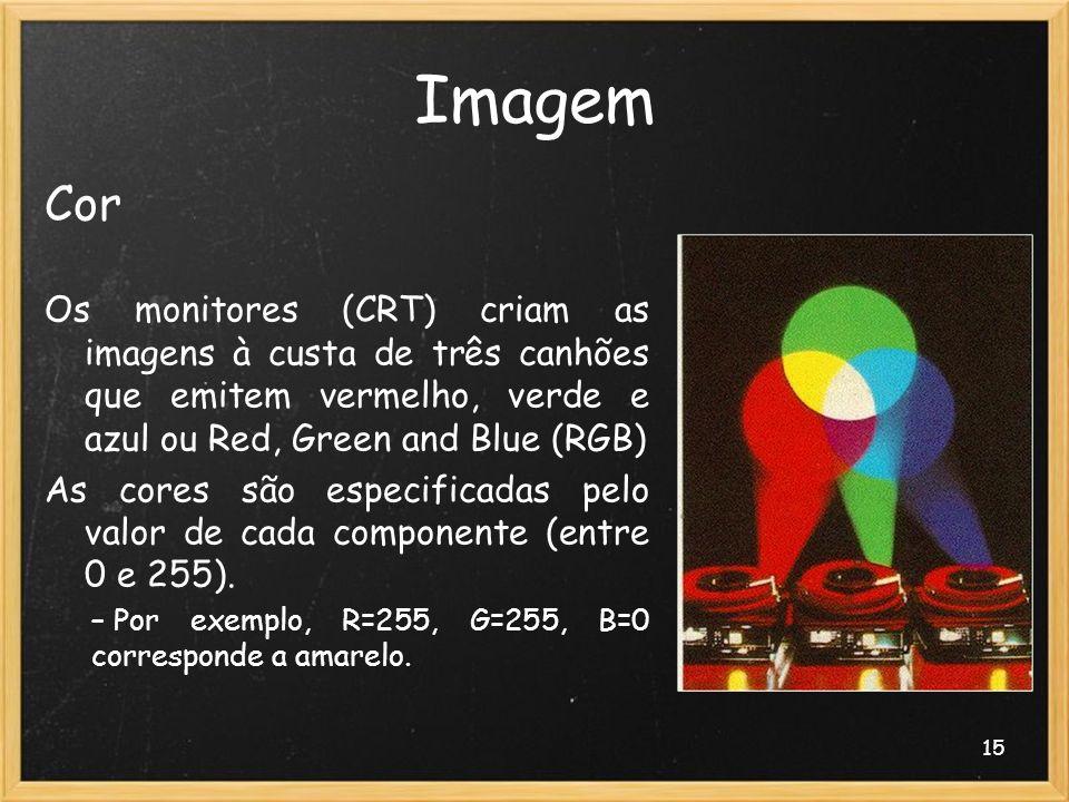 Imagem Cor. Os monitores (CRT) criam as imagens à custa de três canhões que emitem vermelho, verde e azul ou Red, Green and Blue (RGB)