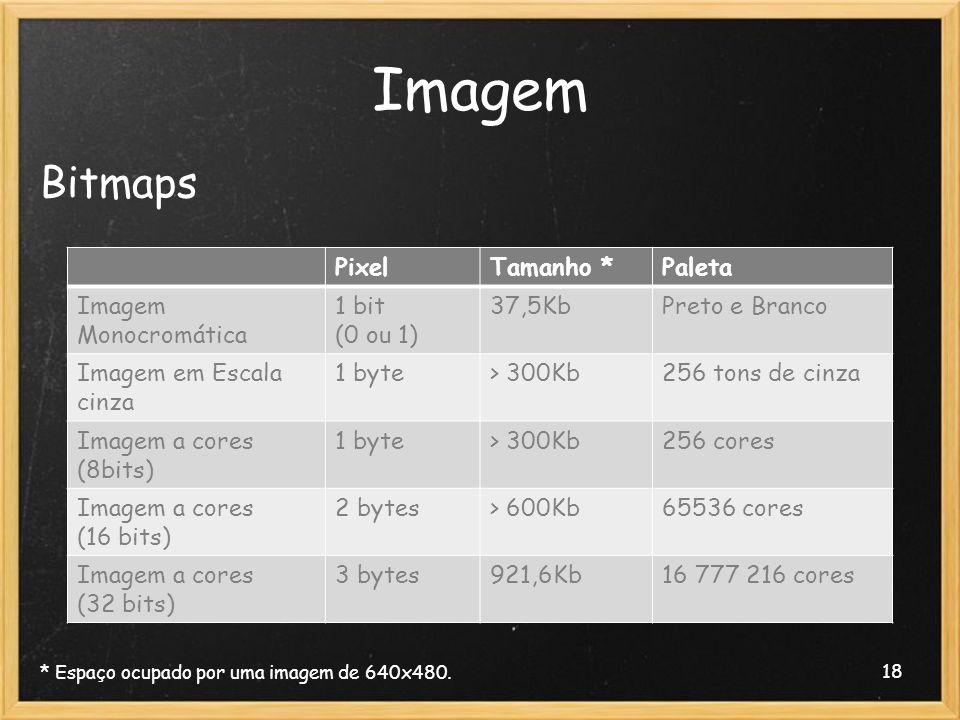Imagem Bitmaps Pixel Tamanho * Paleta Imagem Monocromática 1 bit