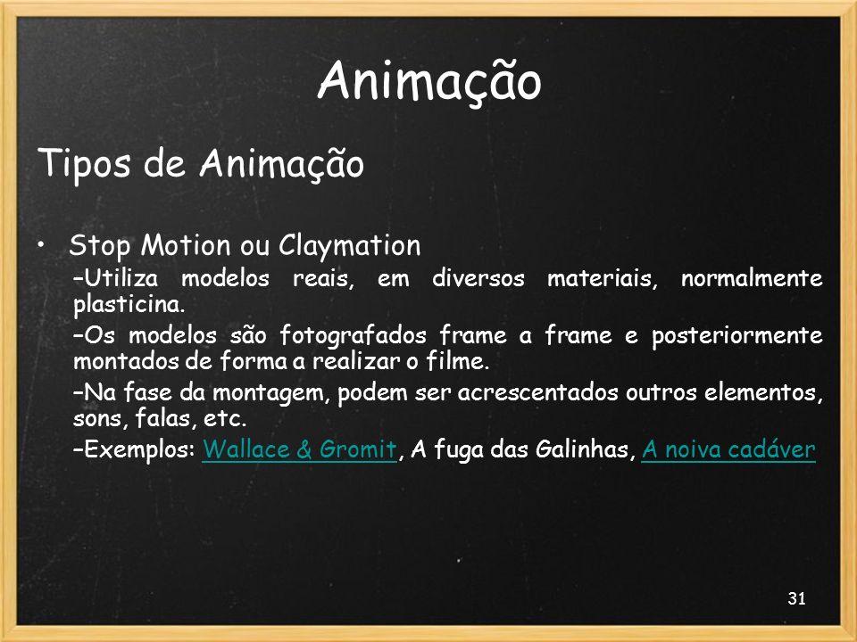 Animação Tipos de Animação Stop Motion ou Claymation