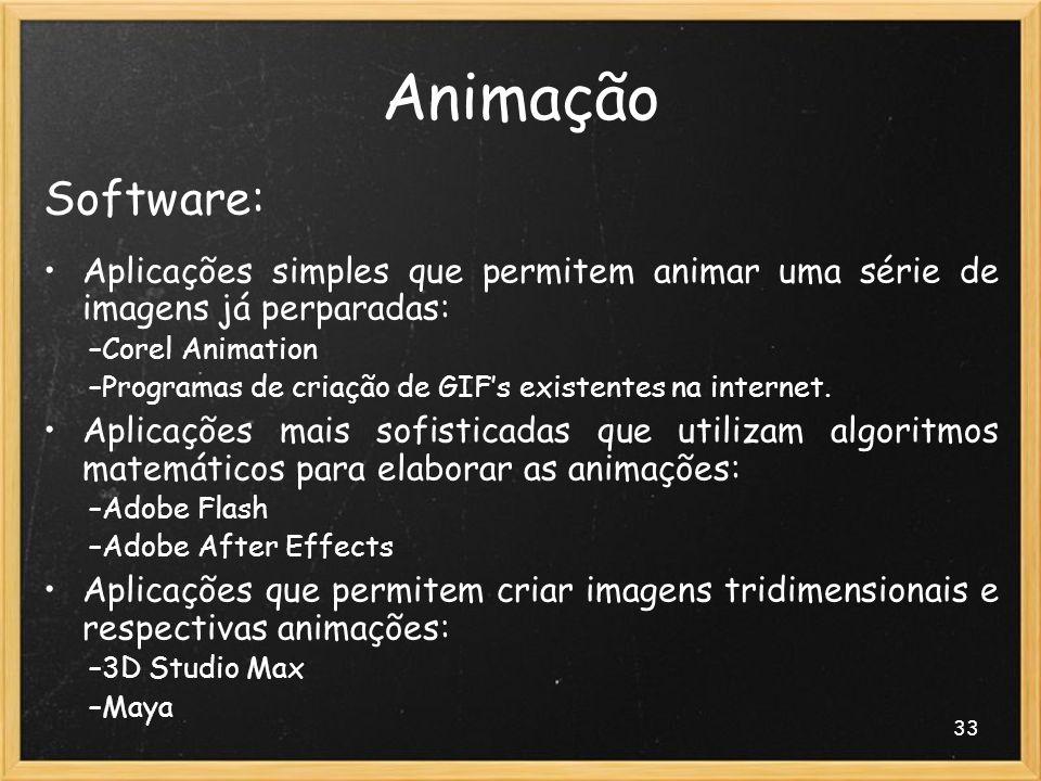 Animação Software: Aplicações simples que permitem animar uma série de imagens já perparadas: Corel Animation.