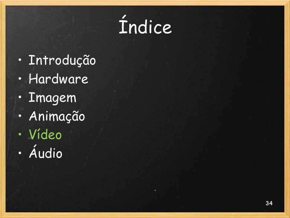 Índice Introdução Hardware Imagem Animação Vídeo Áudio