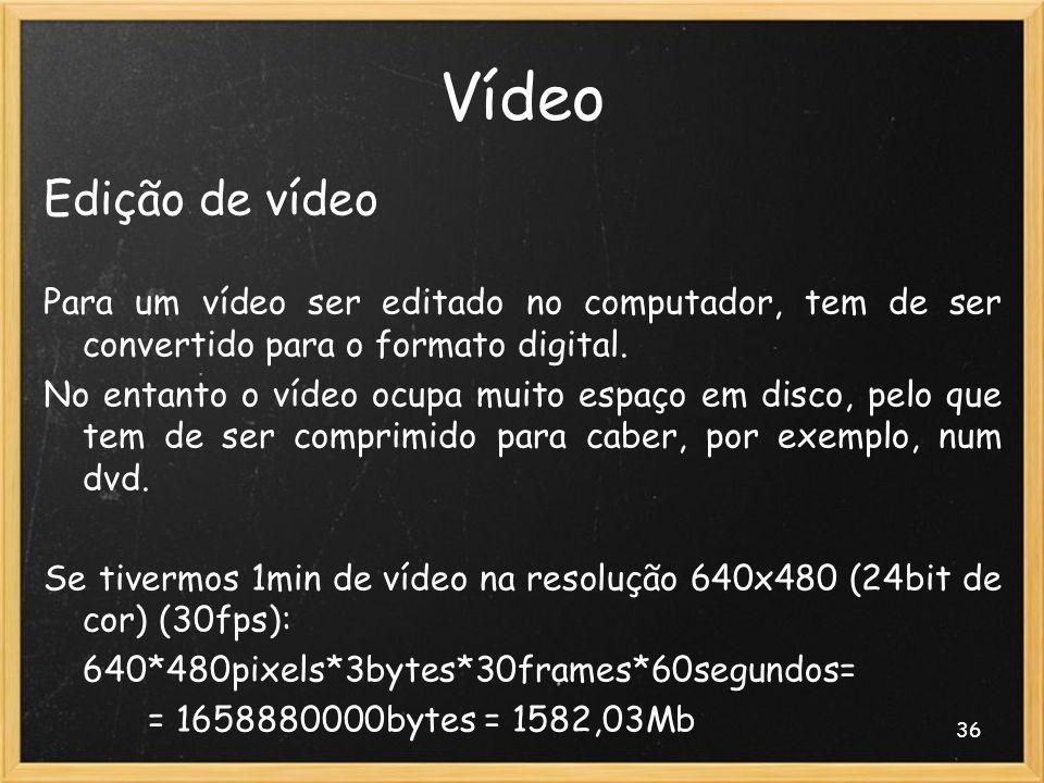 Vídeo Edição de vídeo. Para um vídeo ser editado no computador, tem de ser convertido para o formato digital.