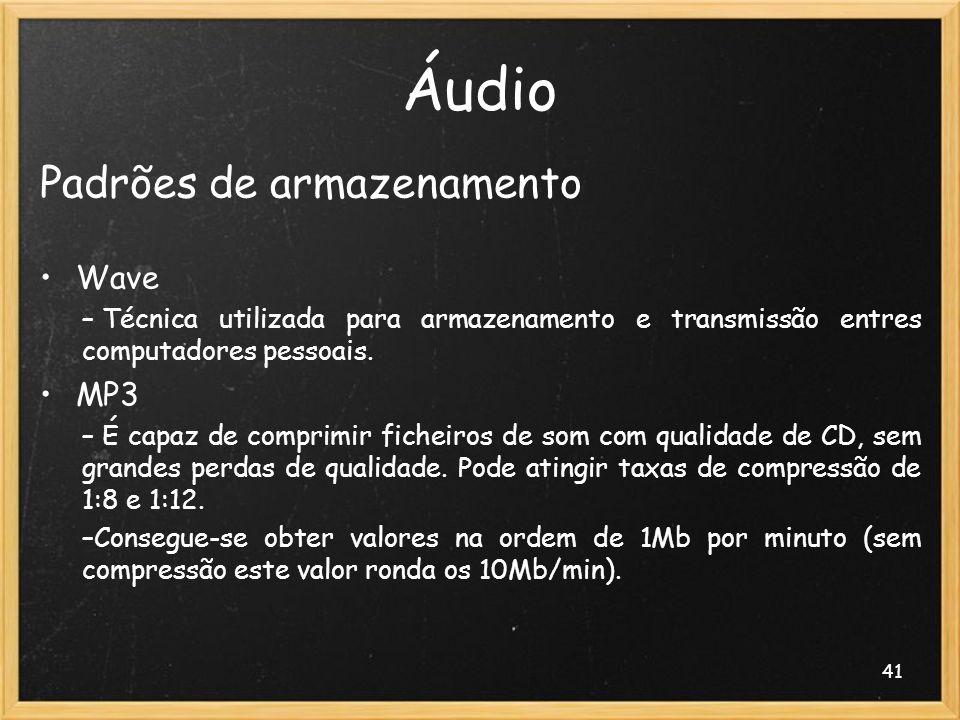 Áudio Padrões de armazenamento Wave MP3