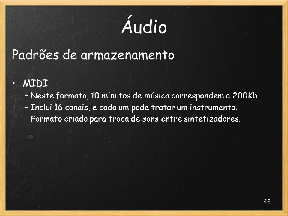 Áudio Padrões de armazenamento MIDI