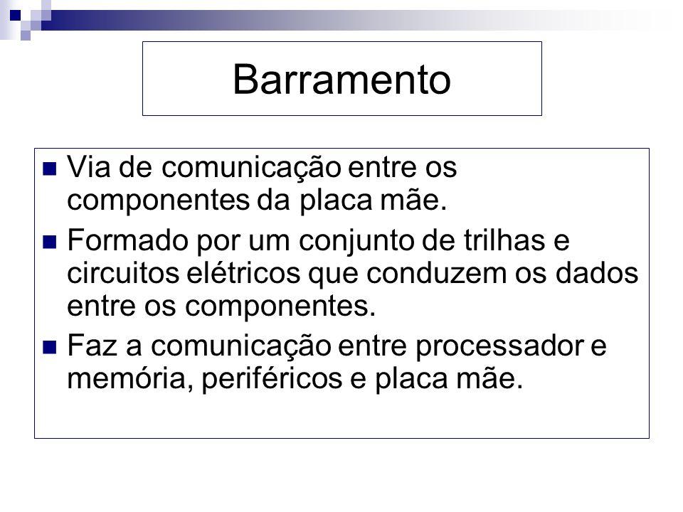 Barramento Via de comunicação entre os componentes da placa mãe.