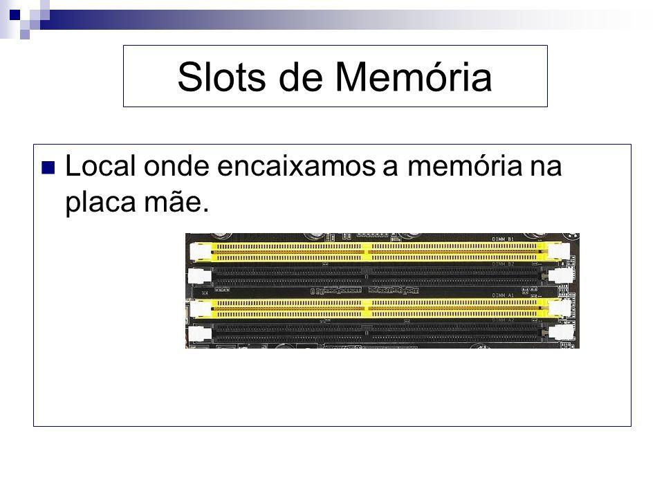 Slots de Memória Local onde encaixamos a memória na placa mãe.