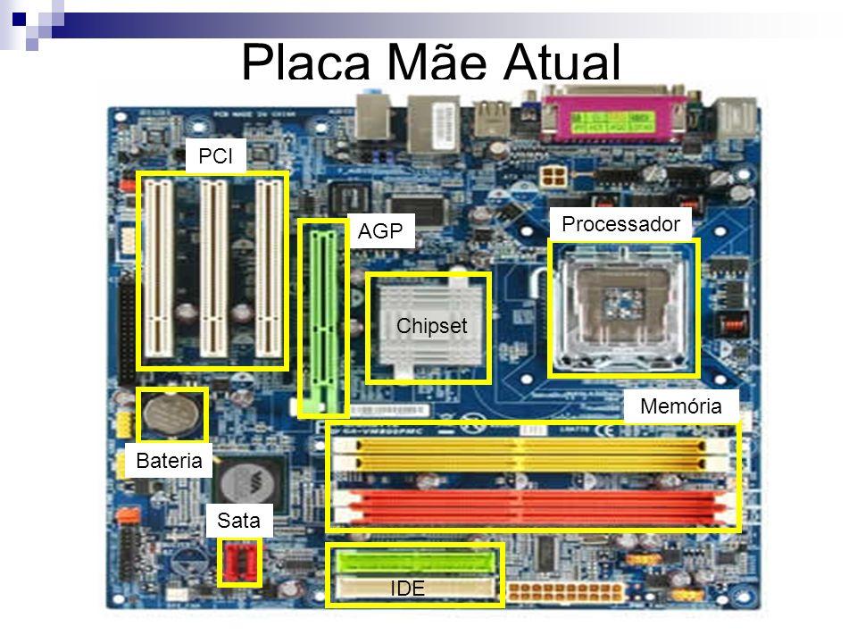Placa Mãe Atual PCI Processador AGP Chipset Memória Bateria Sata IDE