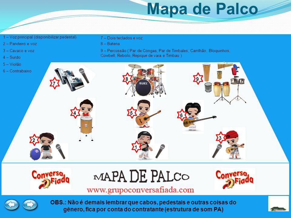 Mapa de Palco 1 – Voz principal (disponibilizar pedestal) 7 – Dois teclados e voz. 2 – Pandeiro e voz.
