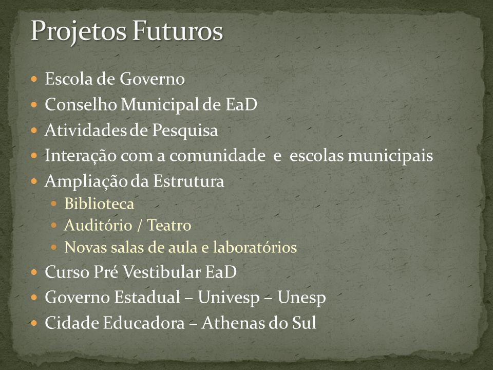 Projetos Futuros Escola de Governo Conselho Municipal de EaD