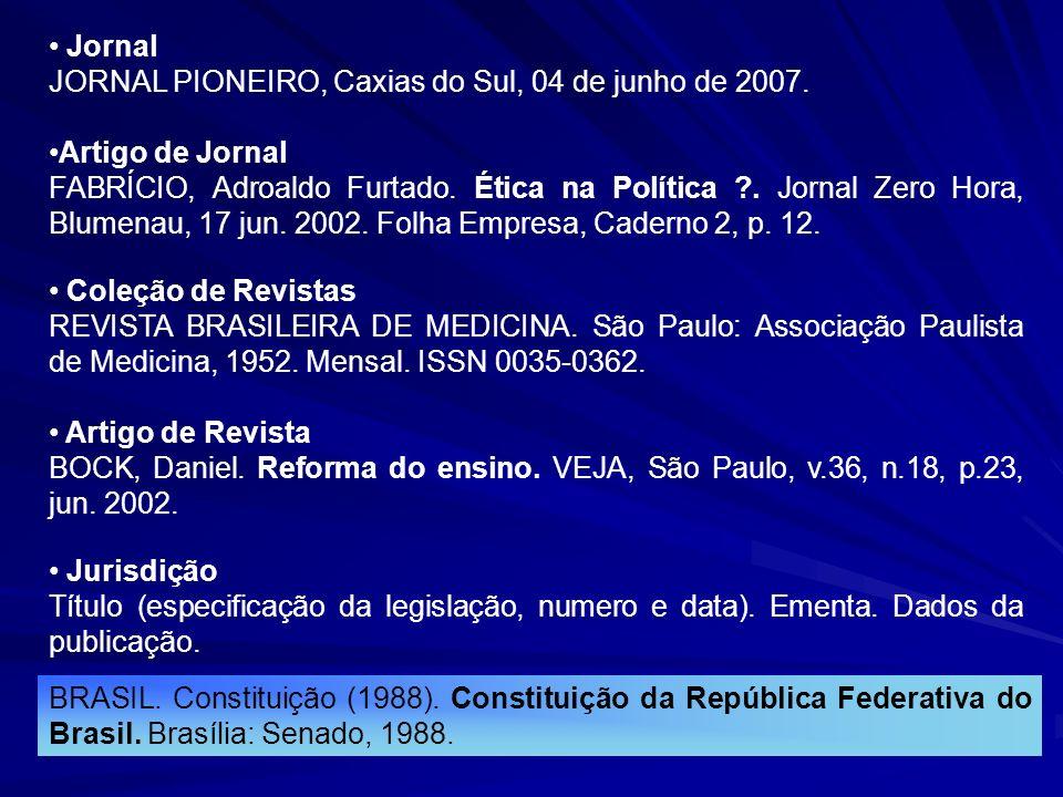 Jornal JORNAL PIONEIRO, Caxias do Sul, 04 de junho de 2007. Artigo de Jornal.