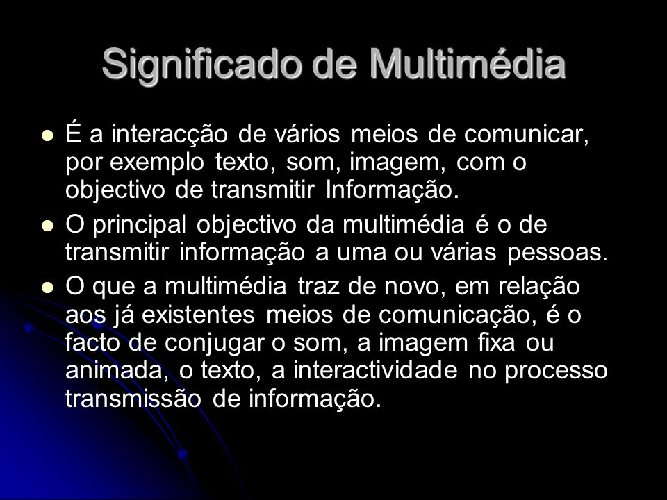Significado de Multimédia